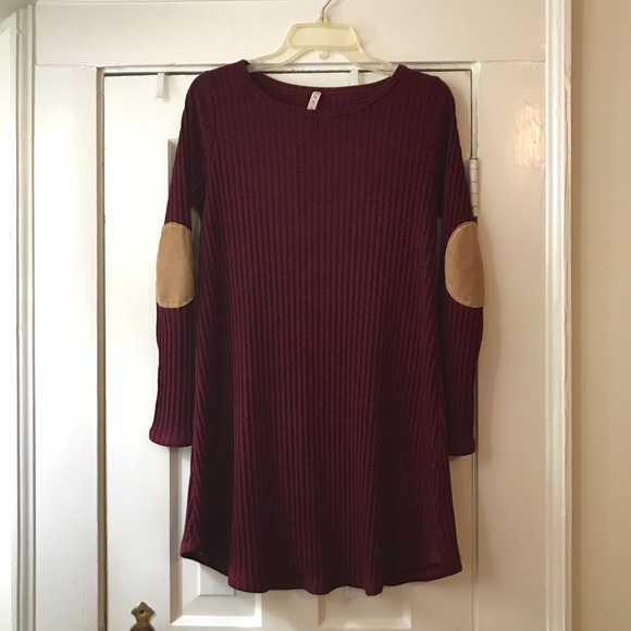 mts Dresses & Skirts - Medium Dark Red Knit Dress with Suede Patches